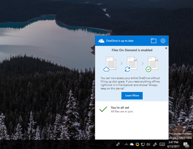 OneDrive Files On-Demand now available to Windows Insiders