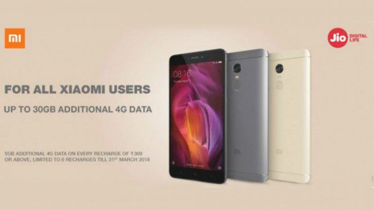 Xiaomi Smartphones to get  Up to 30GB Additional 4G Data from Reliance Jio
