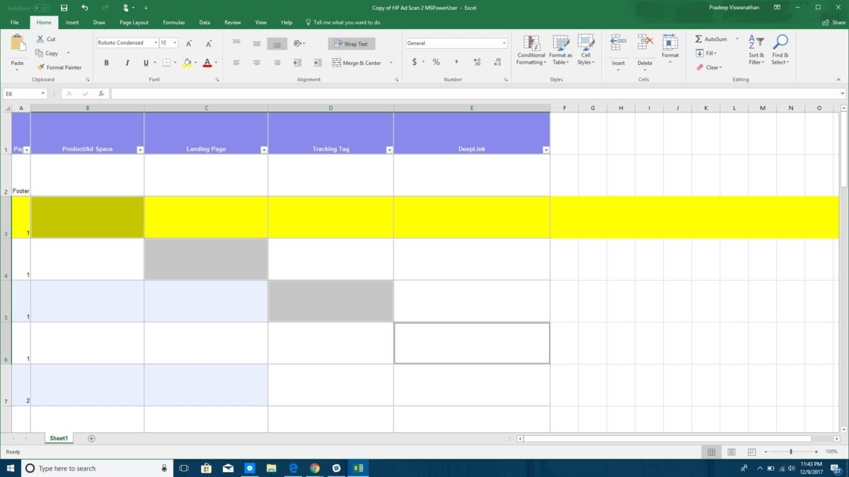 Excel deselect feature