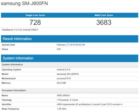 Samsung Galaxy J8 spotted on Geekbench with SM-J800FN model number