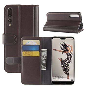 HualuBro Genuine Leather Handmade Wallet Flip case cover for Huawei P20 Pro
